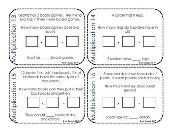 Multiplication Word Problems Task Cards (3rd and 4th Grade Math) English