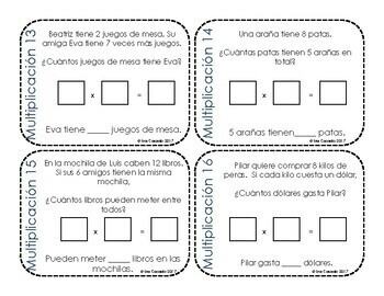 Multiplication Word Problems Task Cards (3rd and 4th Grade Math) Spanish Version