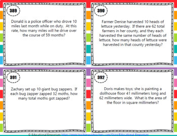 Multiplication Word Problems Task Cards ENDLESS Bundle Multiplication Practice