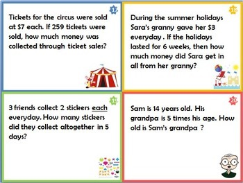 Multiplication Word Problems - Task Cards for Grade 3 & 4