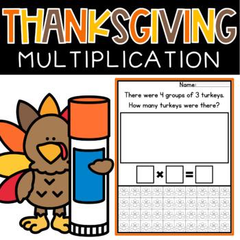 Multiplication Word Problems Thanksgiving Math Worksheets 3rd Grade Cut & Paste