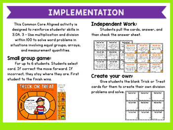 Multiplication Word Problems - Trick or Treat -  3.OA.3