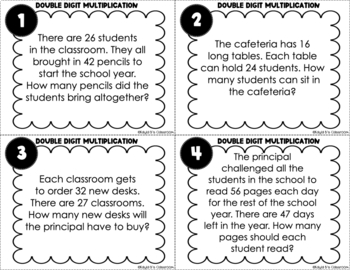 Multiplication Task Cards: Single Digit Number Word Problems