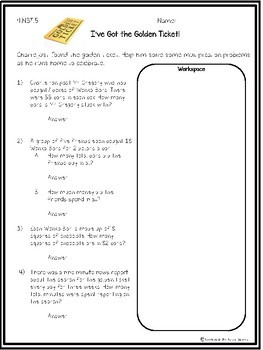 4 NBT 5 Multiplication Word Problems- Willy Wonka Theme