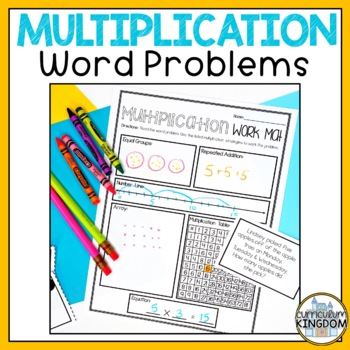 Multiplication Word Problems for 3rd Grade Work Mat & Task Cards