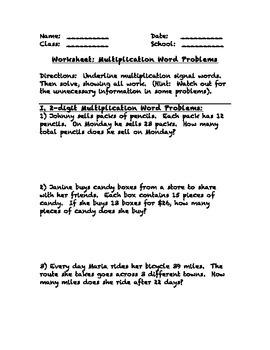 Multiplication Word Problems Worksheet