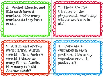 Multiplication Word Problems (basic facts) with QR codes