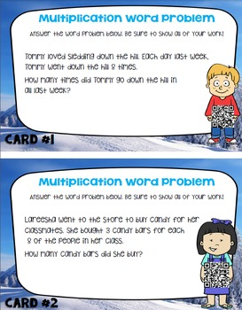 Multiplication Word Problems for 3rd Grade: QR Code for Self-Check