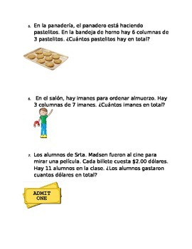 Multiplication Word Problems in Spanish