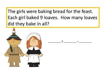 Multiplication Word Problems--slide show, activity, and more--Thanksgving Theme