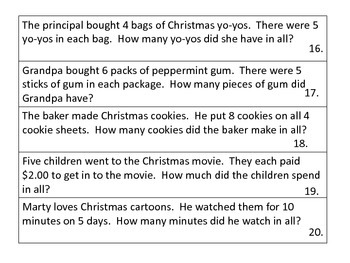 Multiplication Word Problems with a Christmas Theme