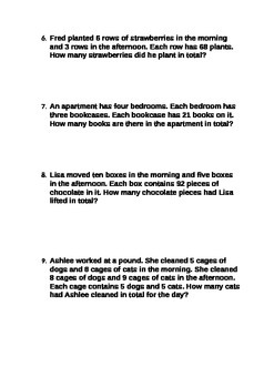 Multiplication Worded Problems Suitable for Grades 4 5 and 6