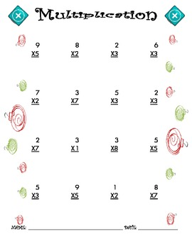 Multiplication Worksheet - 1 x 1 CHRISTMAS THEME
