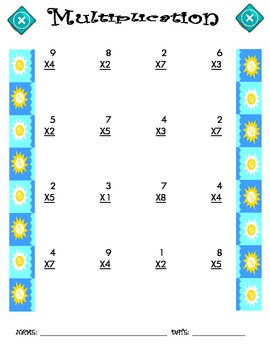 Multiplication Worksheet - 1 x 1 SUMMER THEME