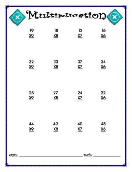 Multiplication Worksheet - 2 x 1
