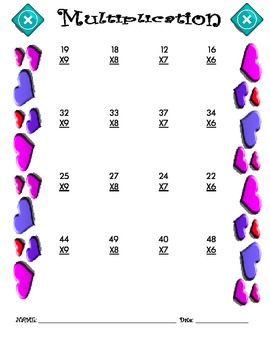 Multiplication Worksheet - 2 x 1 VALENTINE THEME