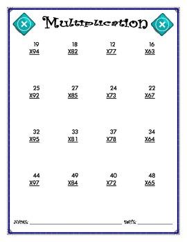 Multiplication Worksheet - 2 x 2