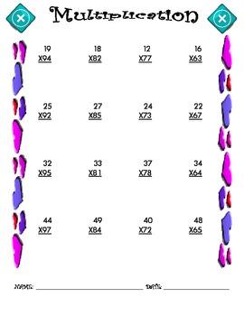 Multiplication Worksheet - 2 x 2 VALENTINE THEME