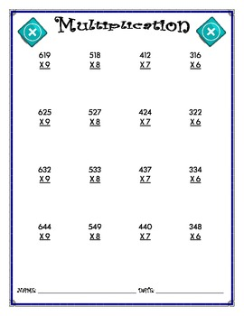 Multiplication Worksheet - 3 x 1