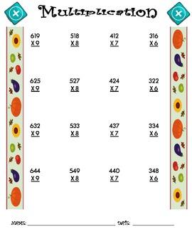 Multiplication Worksheet - 3 x 1 FALL THEME