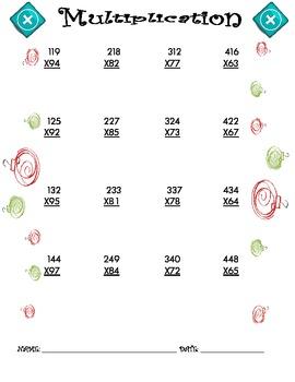 Multiplication Worksheet - 3 x 2 CHRISTMAS THEME