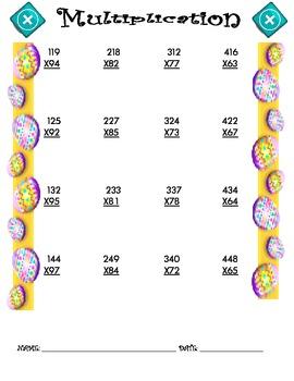 Multiplication Worksheet - 3 x 2 EASTER THEME