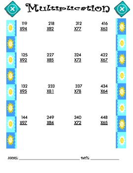 Multiplication Worksheet - 3 x 2 SUMMER THEME