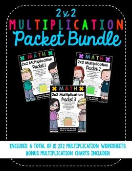 2x2 Digit Multiplication Worksheet Bundle