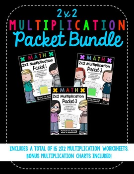 2x2 Digit Multiplication Worksheet Bundle