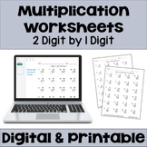 Multiplication Worksheet FREEBIE: 2 Digit by 1 Digit Multiplication