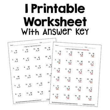 Multiplication Worksheet 2 Digit by 1 Digit FREE