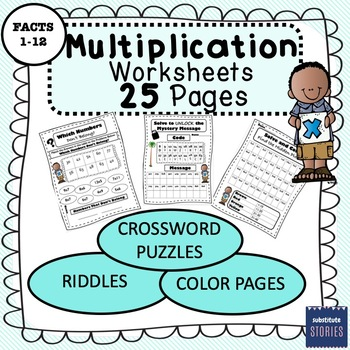 Multiplication Worksheet Pack (25 Pages) Review, Morning Work, Math Stations