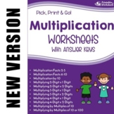 Multi-Digit Multiplication Worksheets, Multiplying Whole Numbers Practice Sheets