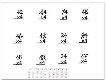 Multiplication Worksheets - 2 digit with 1 digit (4x) - With dots on Numbers