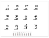 Multiplication Worksheets - 2 digit with 1 digit (4x) - Wi