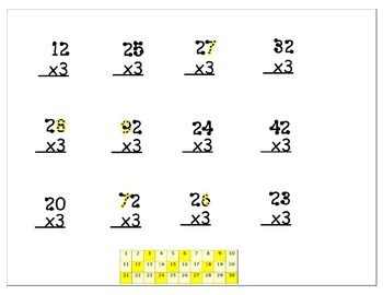 Multiplication Worksheets - 3x with 2 digits - Including 3x table