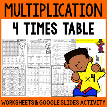 Multiplication Worksheets Multiplication Facts Practice 4 Times Table