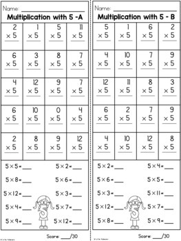 Multiplication Worksheets - 5 Times Table Practice