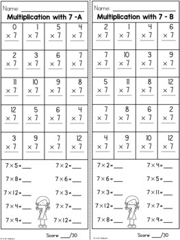 Multiplication Worksheets - Multiplication Facts Practice 7 Times Table