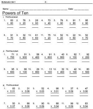 Multiplication Worksheets: Fact Family, Match Ups, Tables and Drills