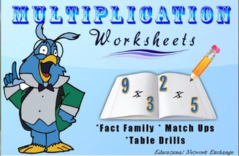 Multiplication Worksheets: Fact Family, Match Ups, Tables