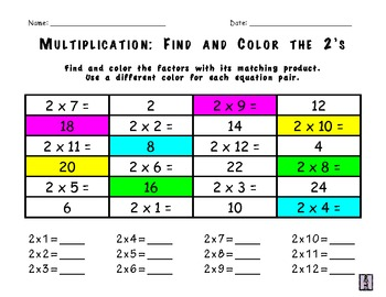 Multiplication Worksheets: Find and Color Pack