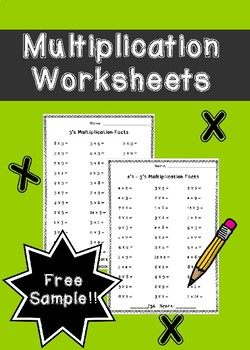 Multiplication Worksheets Free Sample