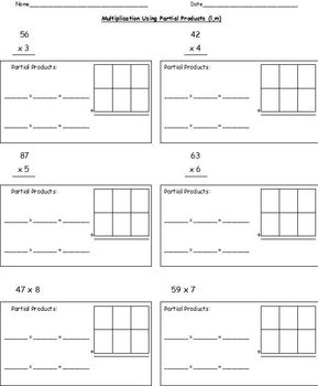 Multiplication Worksheets-Lattice, Partial Products, Standard Form (Common Core)