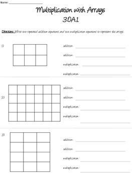 Multiplication Worksheets & Tasks 3.OA.1