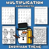 Multiplication Worksheets - Winter Snowman Theme