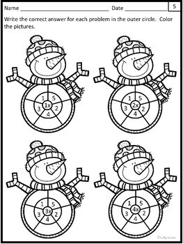 Multiplication Worksheets - Winter Snowman Theme