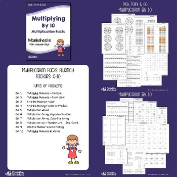 Basic Multiplication Facts Practice Worksheets, Includes Multiply By 2, 5, 10