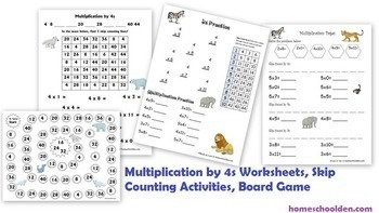 Multiplication Worksheets and Skip Counting Activities: 4s, 6s, 8s, 9s
