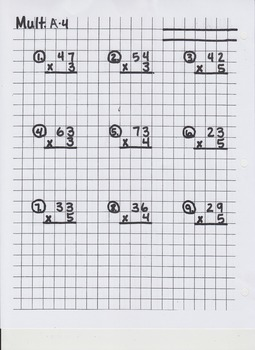 Multiplication Worksheets on Graphing Paper